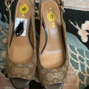Coach ferry wedge heels women sz 8 brand new Nyah